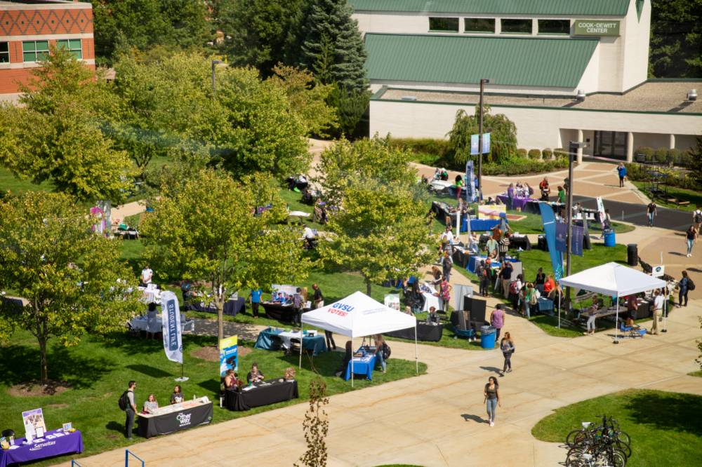 Arial shot of event containing employer booths and gvsu clock tower